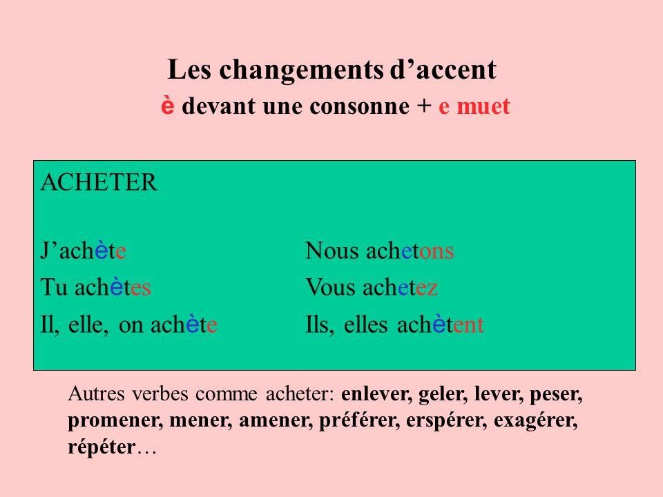 Les changements d'accent è devant une consonne + e muet