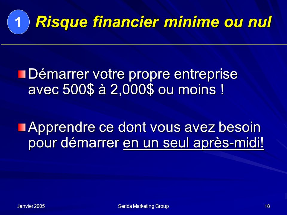 Risque financier minime ou nul