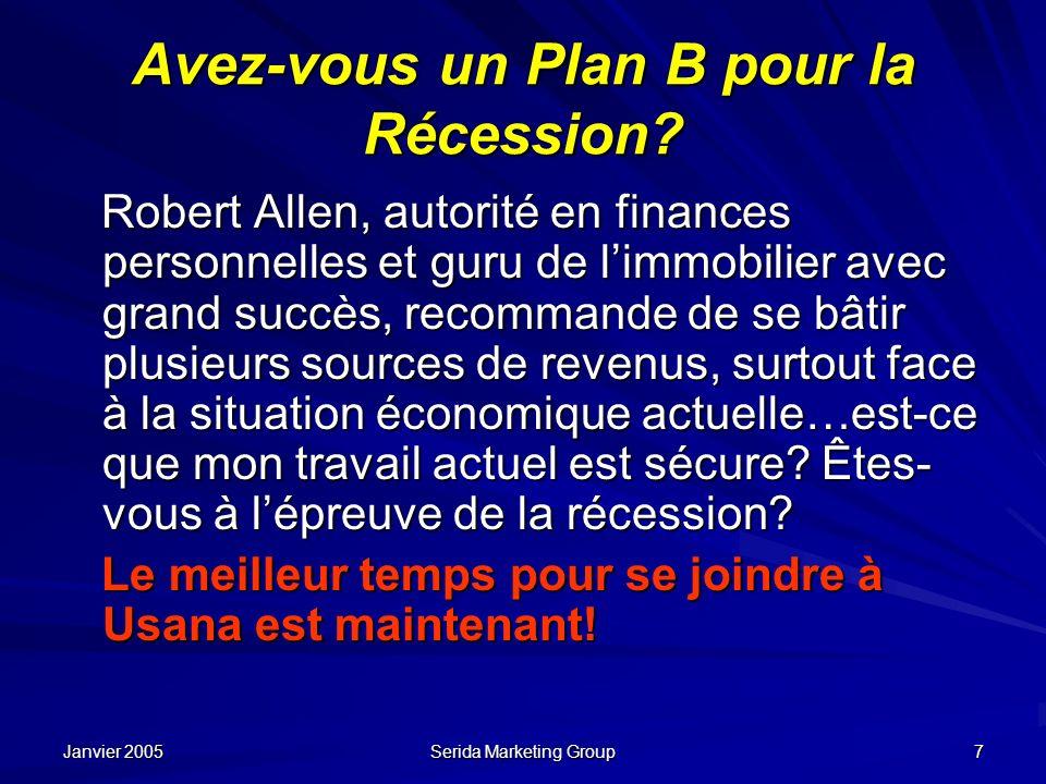 Avez-vous un Plan B pour la Récession