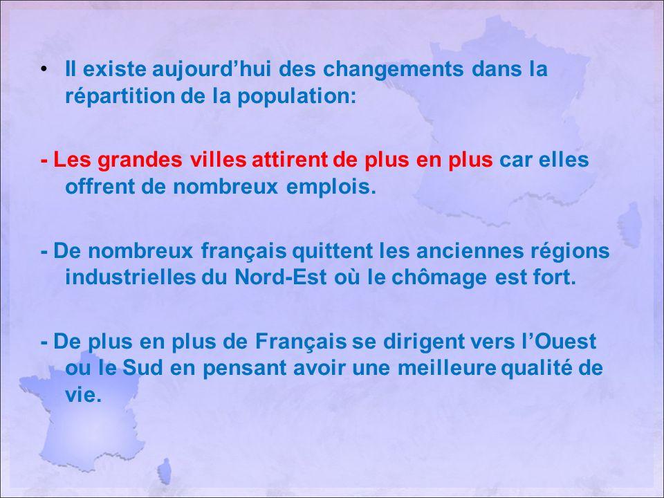 Il existe aujourd'hui des changements dans la répartition de la population: