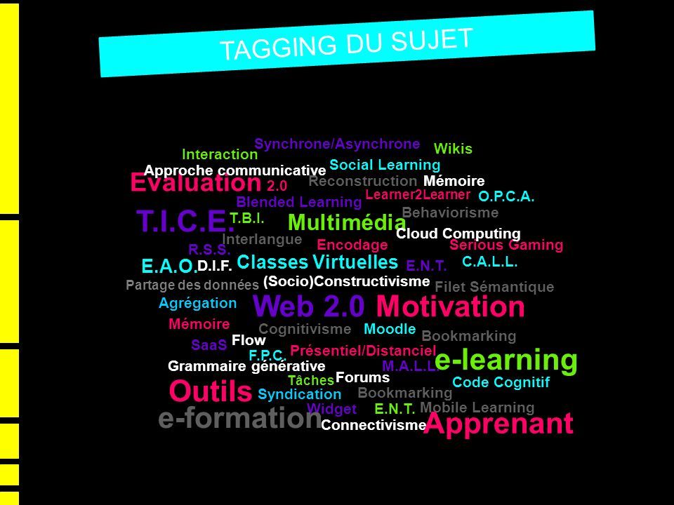 T.I.C.E. Web 2.0 Motivation e-learning Outils e-formation Apprenant