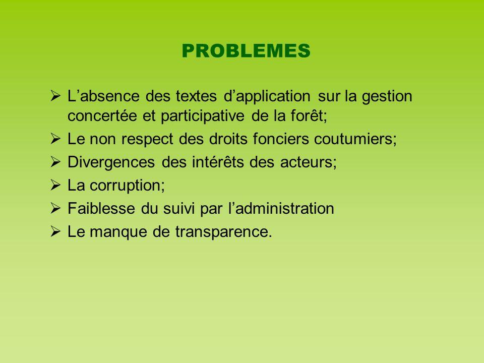 PROBLEMES L'absence des textes d'application sur la gestion concertée et participative de la forêt;