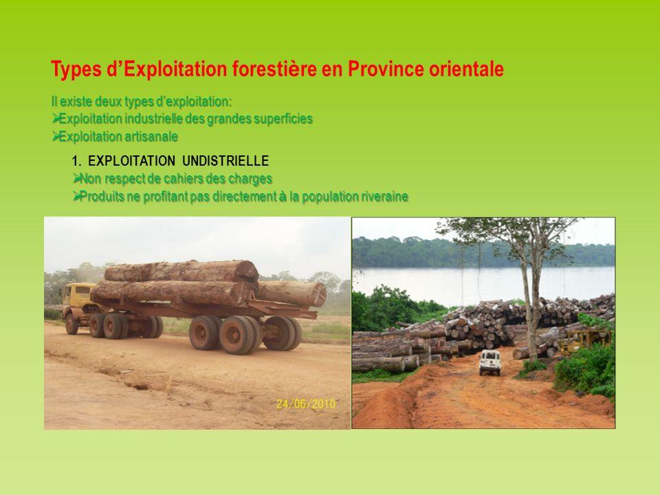 Types d'Exploitation forestière en Province orientale