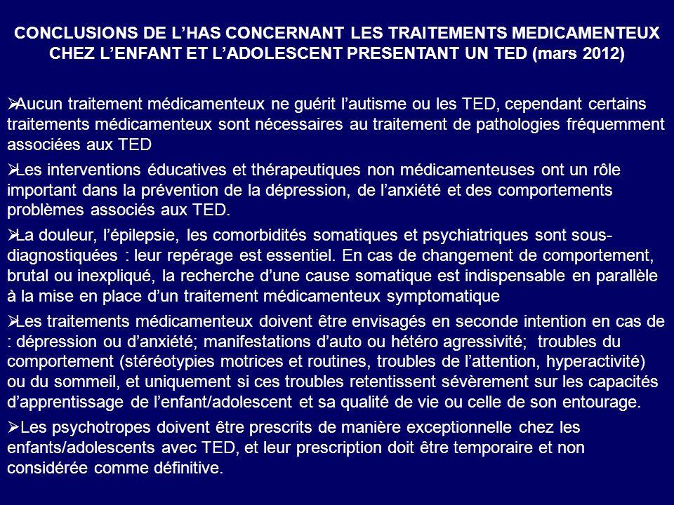 CONCLUSIONS DE L'HAS CONCERNANT LES TRAITEMENTS MEDICAMENTEUX CHEZ L'ENFANT ET L'ADOLESCENT PRESENTANT UN TED (mars 2012)