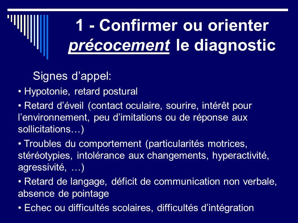1 - Confirmer ou orienter précocement le diagnostic