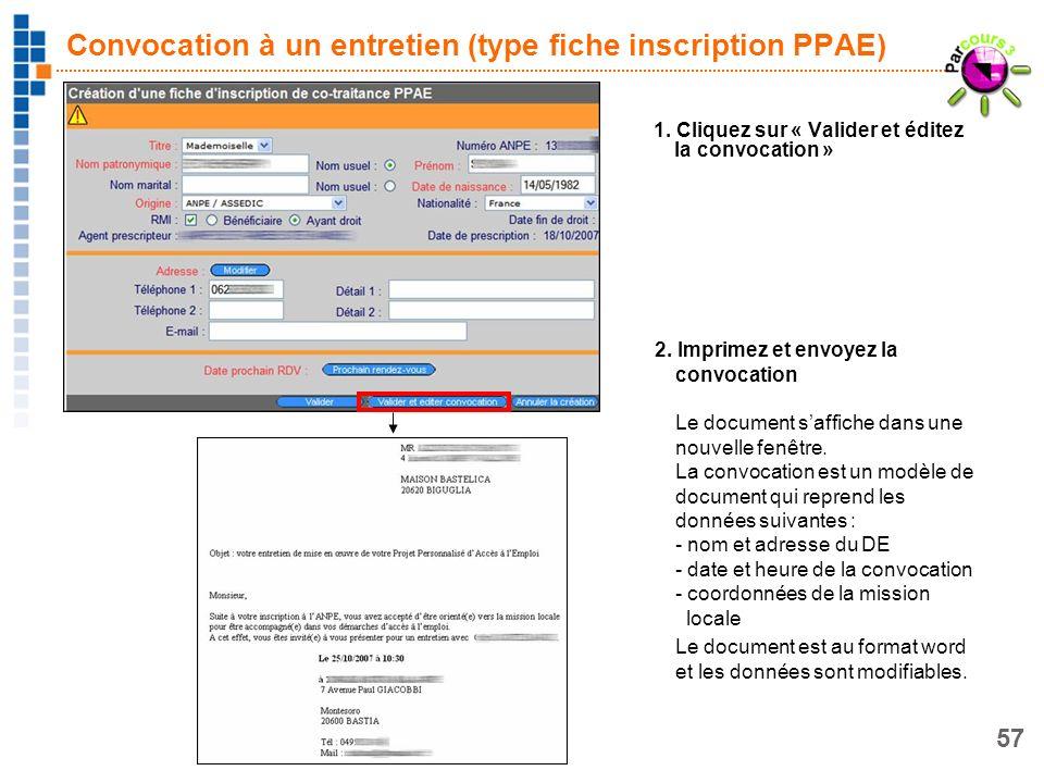 Convocation à un entretien (type fiche inscription PPAE)