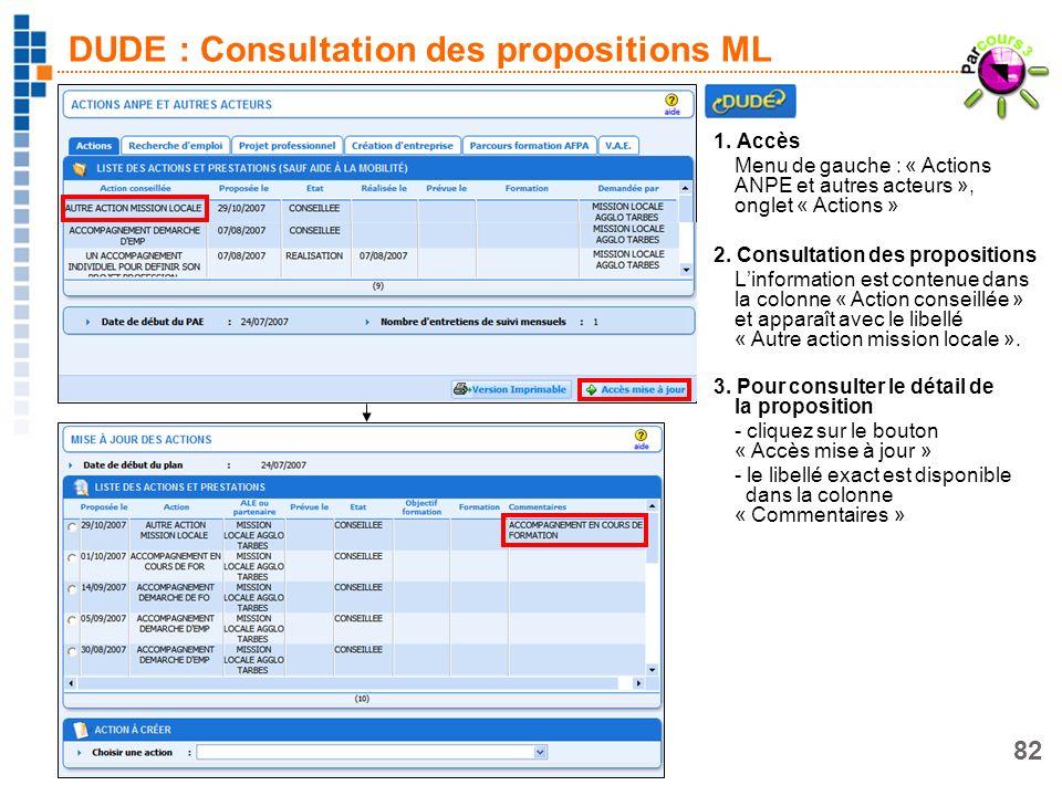 DUDE : Consultation des propositions ML