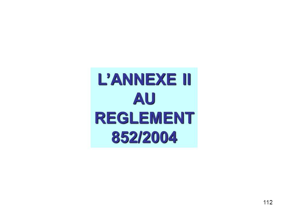 L'ANNEXE II AU REGLEMENT 852/2004