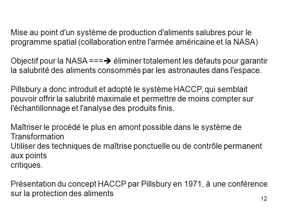 Mise au point d un système de production d aliments salubres pour le programme spatial (collaboration entre l armée américaine et la NASA)
