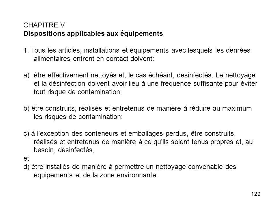 CHAPITRE V Dispositions applicables aux équipements.