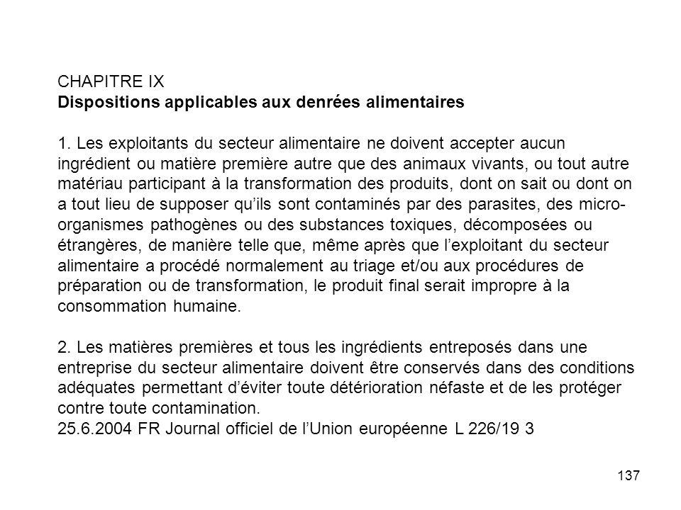 CHAPITRE IX Dispositions applicables aux denrées alimentaires.