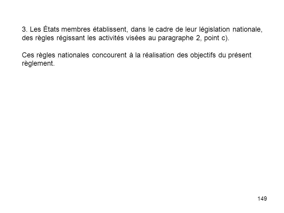 3. Les États membres établissent, dans le cadre de leur législation nationale, des règles régissant les activités visées au paragraphe 2, point c).