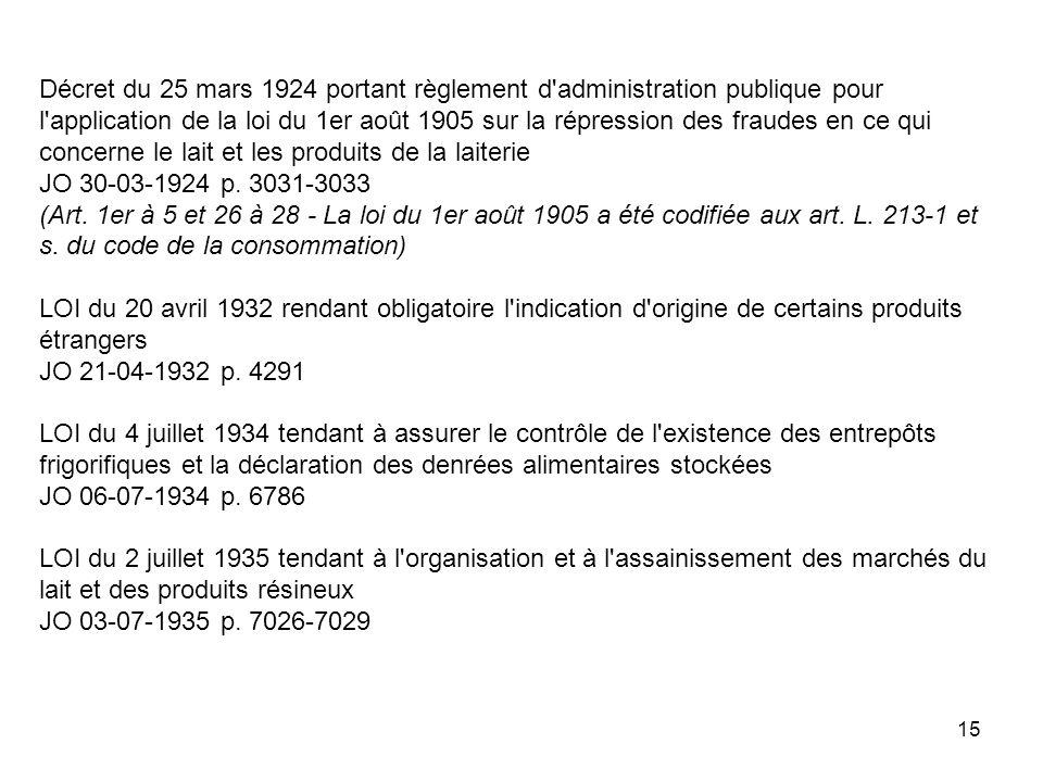 Décret du 25 mars 1924 portant règlement d administration publique pour l application de la loi du 1er août 1905 sur la répression des fraudes en ce qui concerne le lait et les produits de la laiterie