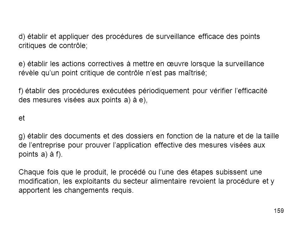d) établir et appliquer des procédures de surveillance efficace des points critiques de contrôle;