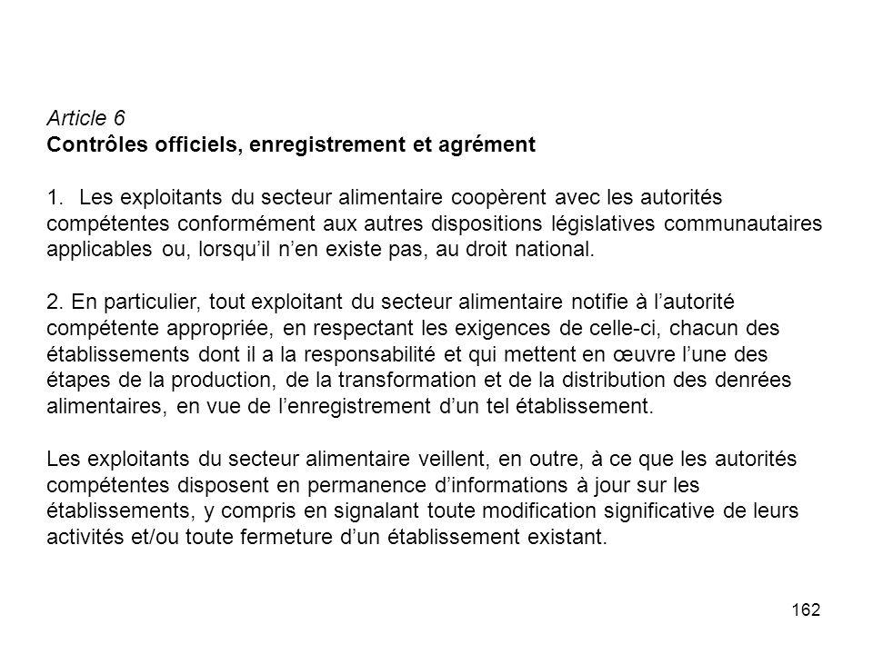 Article 6 Contrôles officiels, enregistrement et agrément. Les exploitants du secteur alimentaire coopèrent avec les autorités.