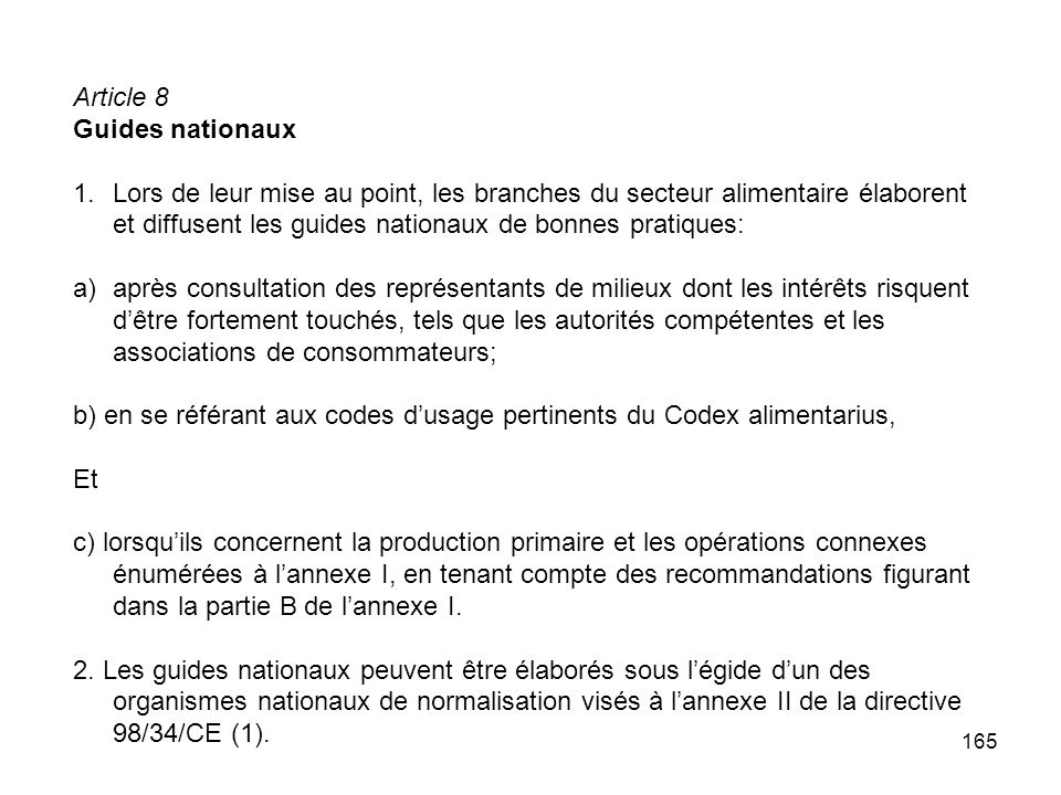 Article 8 Guides nationaux.