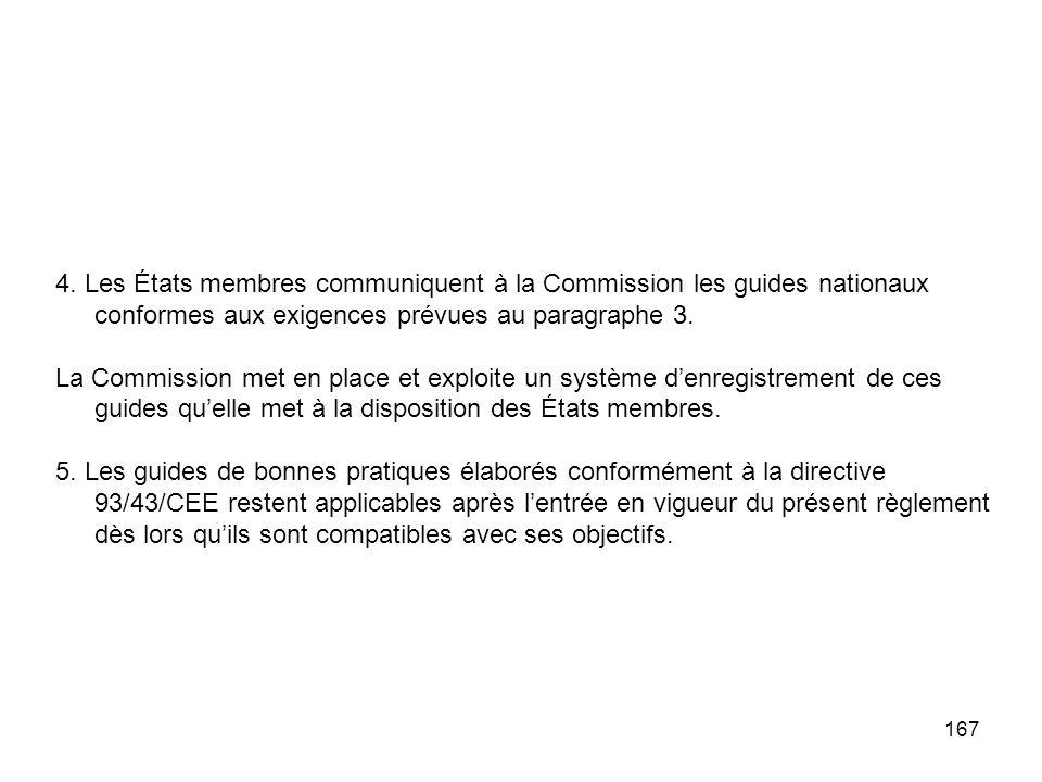 4. Les États membres communiquent à la Commission les guides nationaux conformes aux exigences prévues au paragraphe 3.