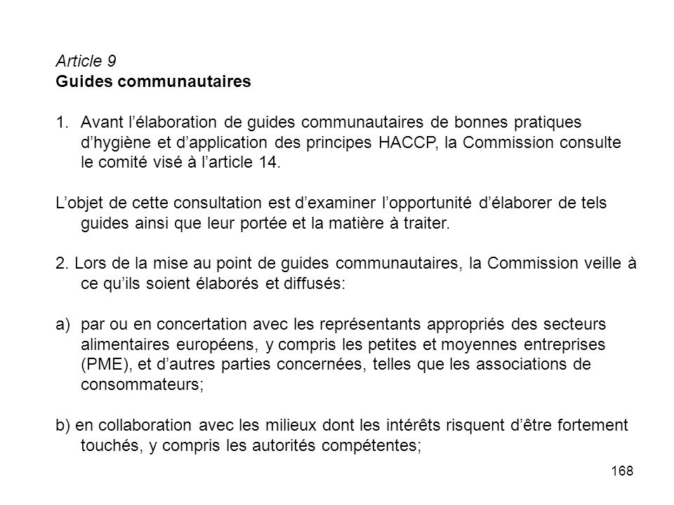 Article 9 Guides communautaires.