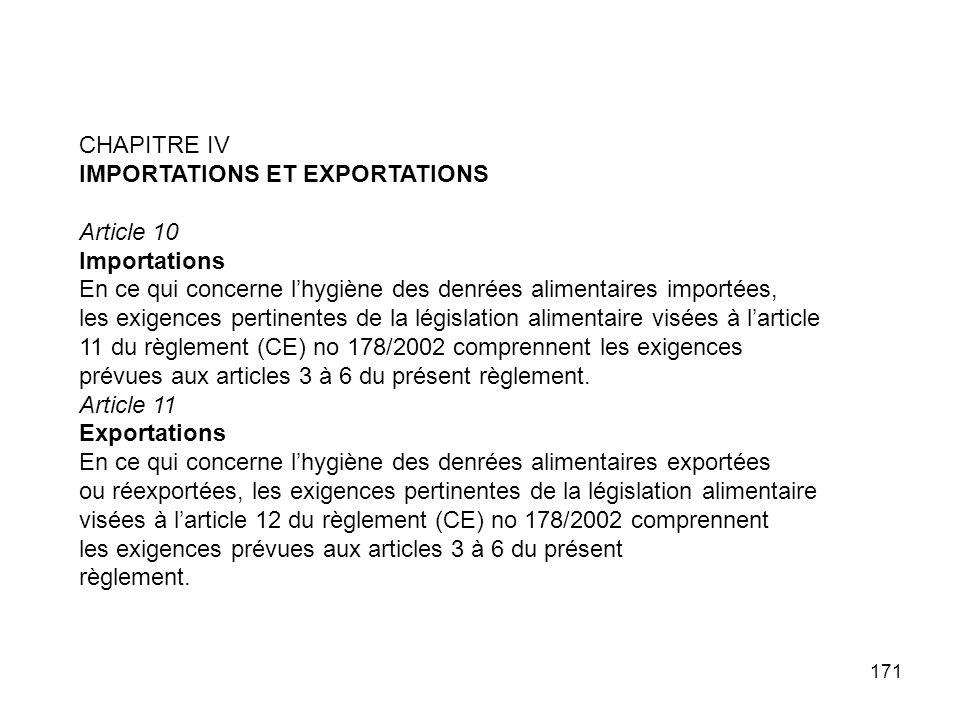 CHAPITRE IV IMPORTATIONS ET EXPORTATIONS. Article 10. Importations. En ce qui concerne l'hygiène des denrées alimentaires importées,