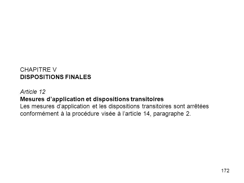 CHAPITRE VDISPOSITIONS FINALES. Article 12. Mesures d'application et dispositions transitoires.