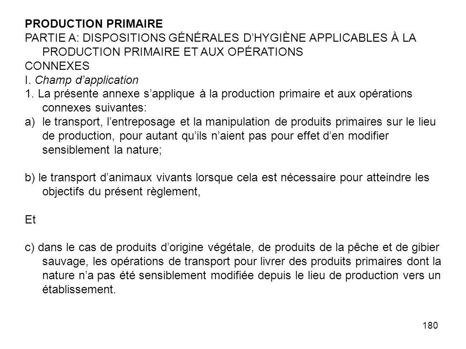 PRODUCTION PRIMAIRE PARTIE A: DISPOSITIONS GÉNÉRALES D'HYGIÈNE APPLICABLES À LA PRODUCTION PRIMAIRE ET AUX OPÉRATIONS.