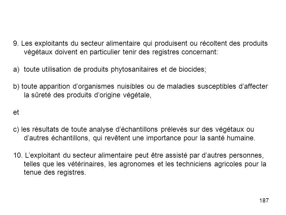 9. Les exploitants du secteur alimentaire qui produisent ou récoltent des produits végétaux doivent en particulier tenir des registres concernant: