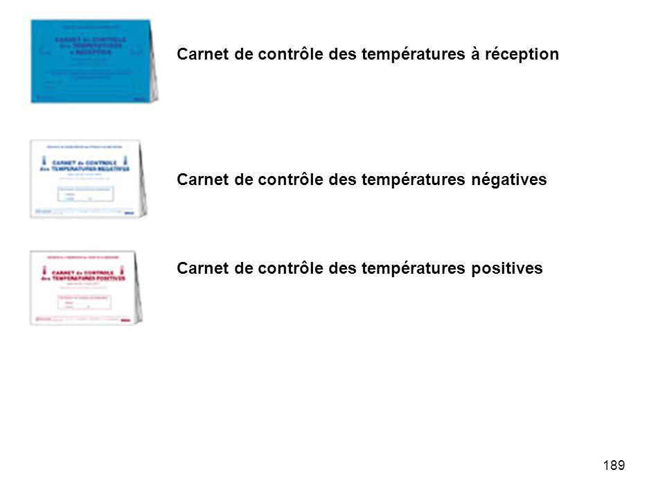 Carnet de contrôle des températures à réception