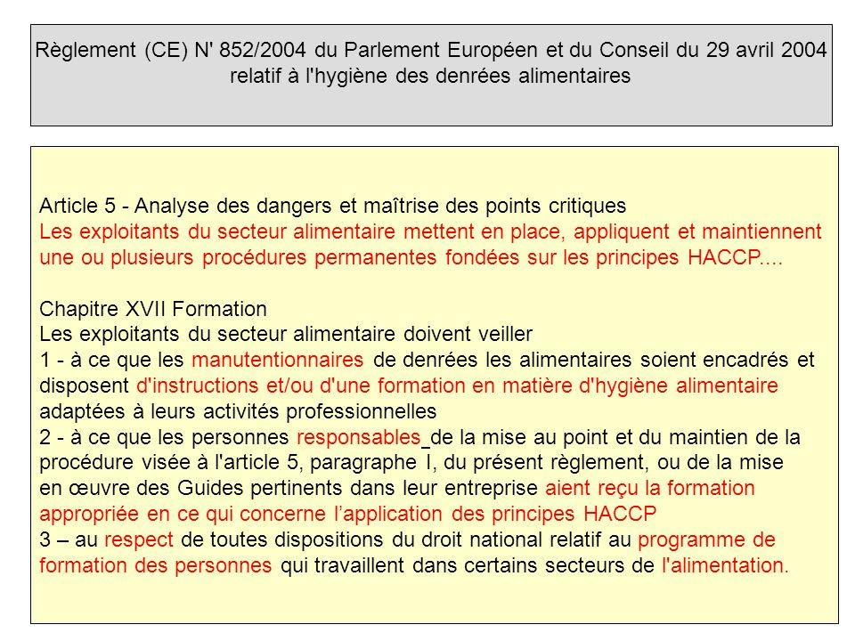 Règlement (CE) N 852/2004 du Parlement Européen et du Conseil du 29 avril 2004 relatif à l hygiène des denrées alimentaires