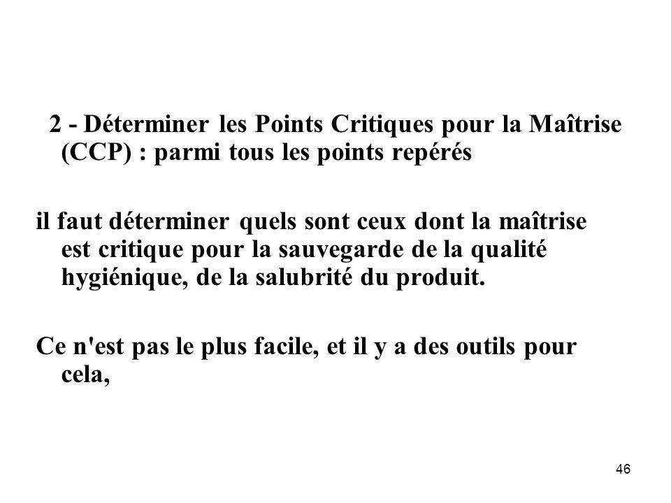 2 - Déterminer les Points Critiques pour la Maîtrise (CCP) : parmi tous les points repérés
