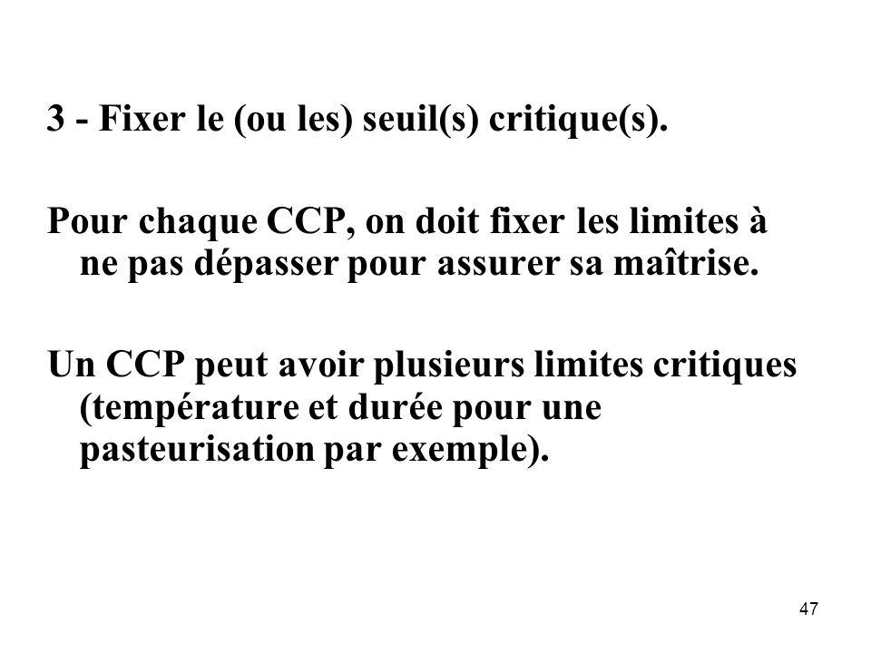 3 - Fixer le (ou les) seuil(s) critique(s).