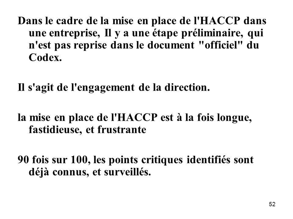 Dans le cadre de la mise en place de l HACCP dans une entreprise, Il y a une étape préliminaire, qui n est pas reprise dans le document officiel du Codex.