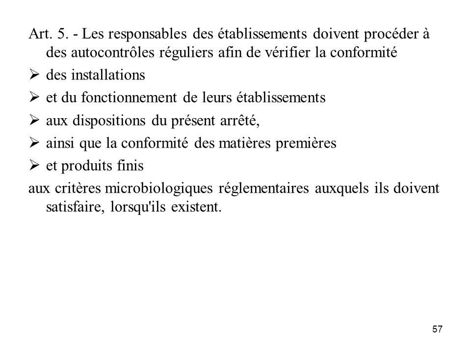 Art. 5. - Les responsables des établissements doivent procéder à des autocontrôles réguliers afin de vérifier la conformité