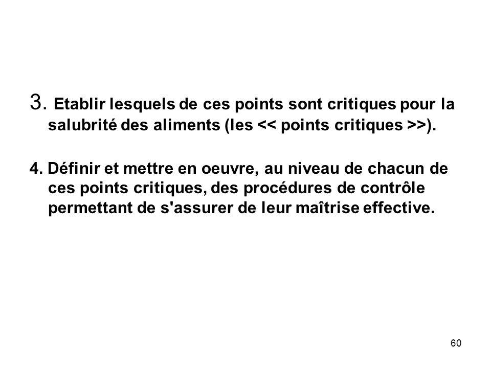 3. Etablir lesquels de ces points sont critiques pour la salubrité des aliments (les << points critiques >>).