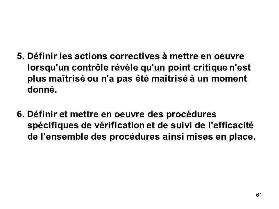 5. Définir les actions correctives à mettre en oeuvre lorsqu un contrôle révèle qu un point critique n est plus maîtrisé ou n a pas été maîtrisé à un moment donné.