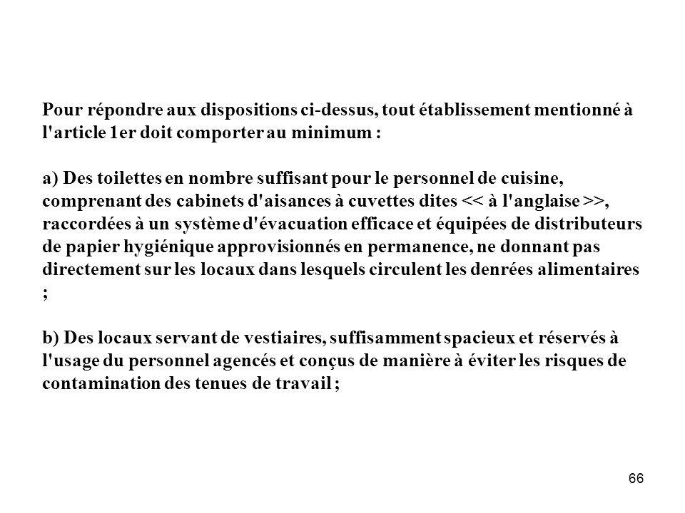 Pour répondre aux dispositions ci-dessus, tout établissement mentionné à l article 1er doit comporter au minimum :