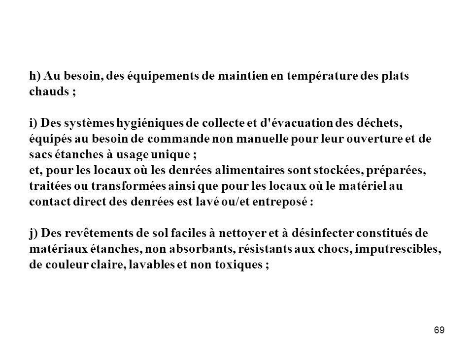h) Au besoin, des équipements de maintien en température des plats chauds ;