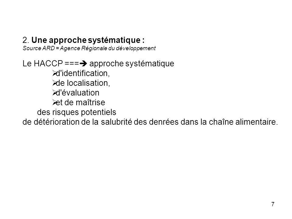 2. Une approche systématique : Le HACCP === approche systématique