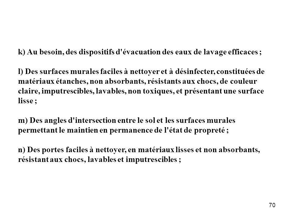 k) Au besoin, des dispositifs d évacuation des eaux de lavage efficaces ;