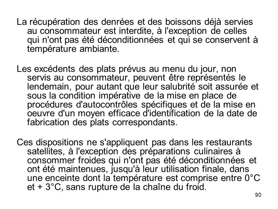 La récupération des denrées et des boissons déjà servies au consommateur est interdite, à l exception de celles qui n ont pas été déconditionnées et qui se conservent à température ambiante.