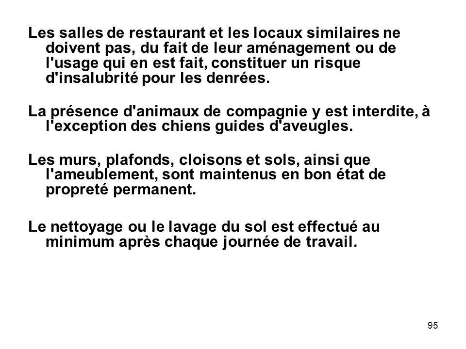 Les salles de restaurant et les locaux similaires ne doivent pas, du fait de leur aménagement ou de l usage qui en est fait, constituer un risque d insalubrité pour les denrées.