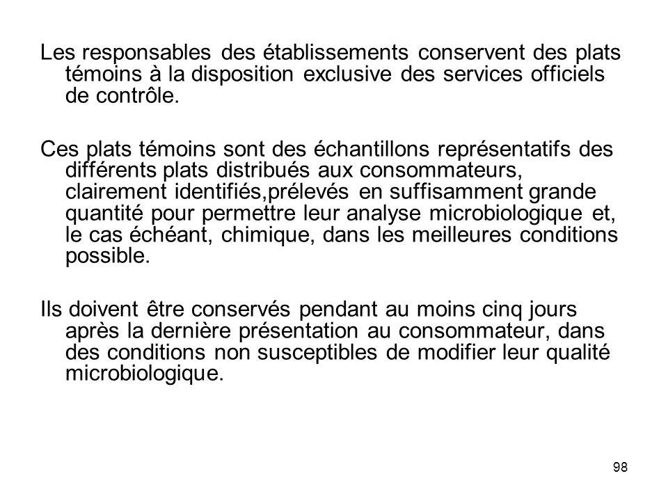 Les responsables des établissements conservent des plats témoins à la disposition exclusive des services officiels de contrôle.