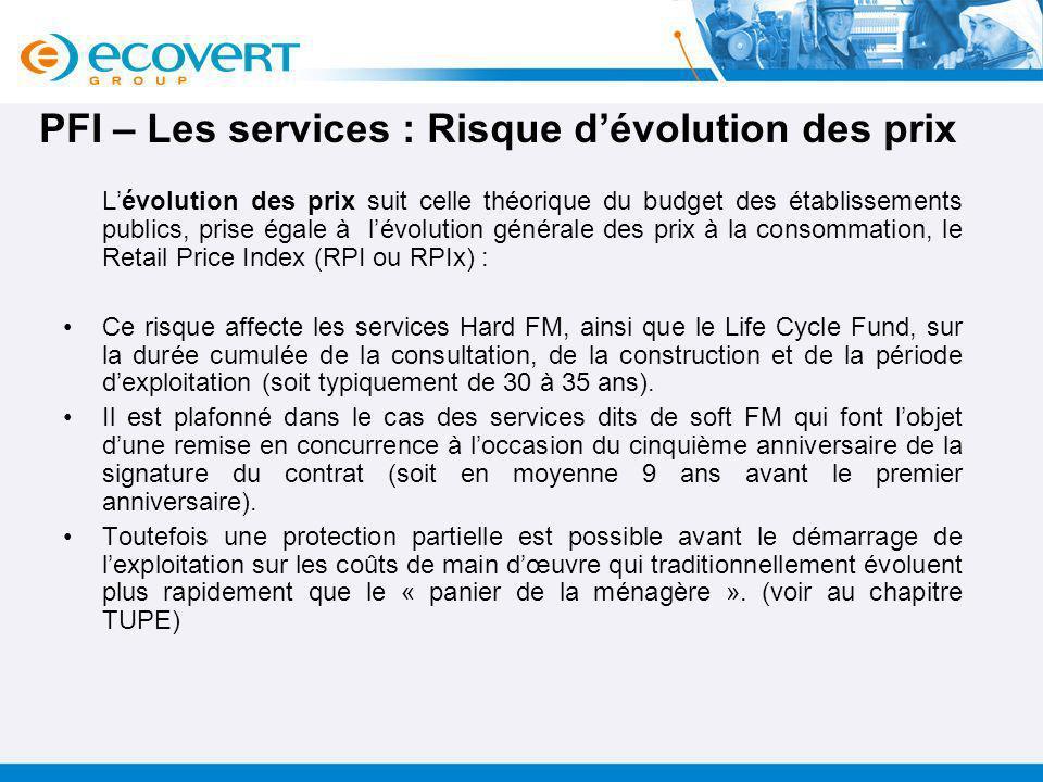 PFI – Les services : Risque d'évolution des prix