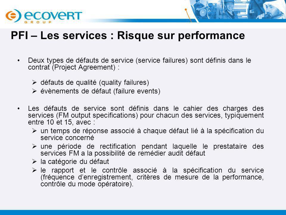 PFI – Les services : Risque sur performance