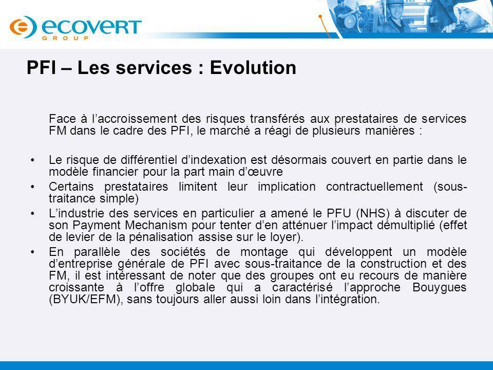 PFI – Les services : Evolution