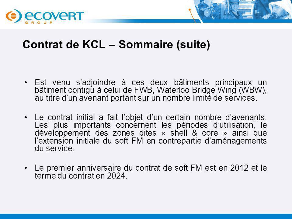Contrat de KCL – Sommaire (suite)