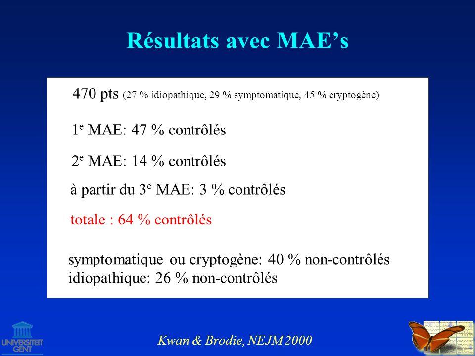Résultats avec MAE's470 pts (27 % idiopathique, 29 % symptomatique, 45 % cryptogène) 1e MAE: 47 % contrôlés.