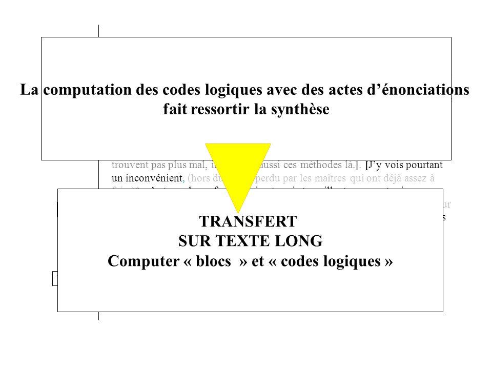 La computation des codes logiques avec des actes d'énonciations