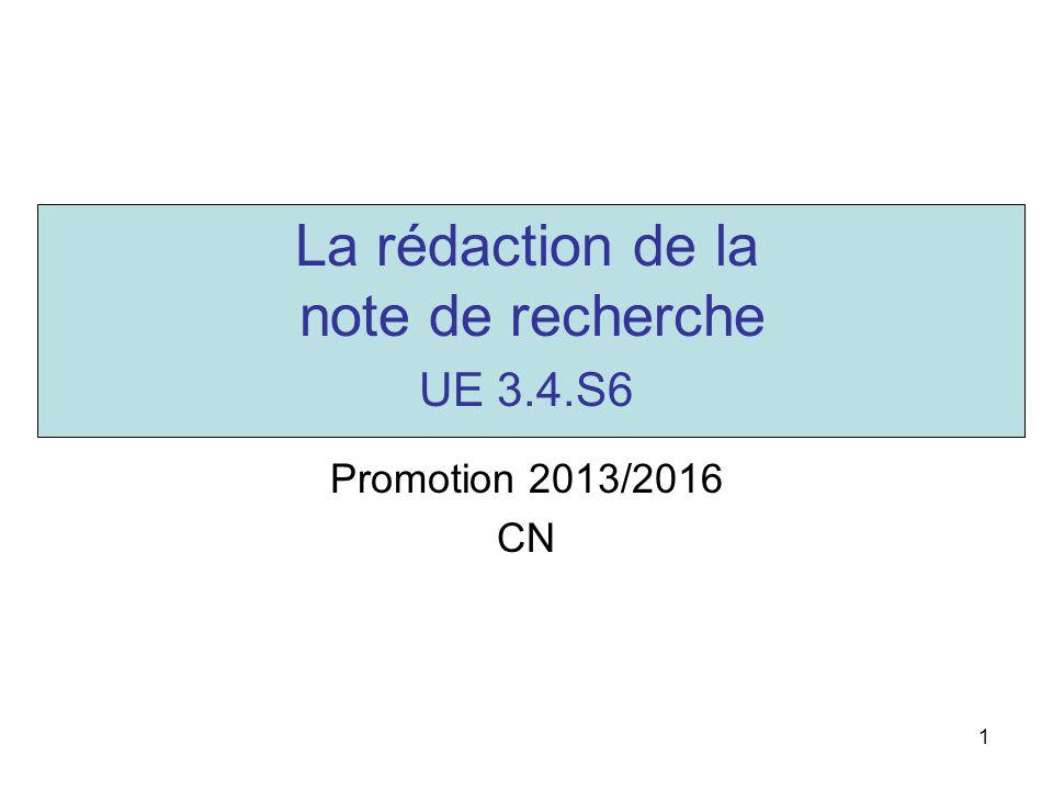 La rédaction de la note de recherche UE 3.4.S6