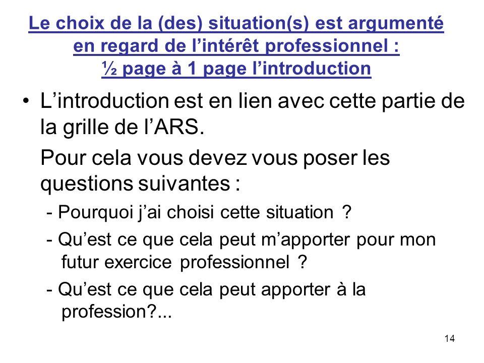 L'introduction est en lien avec cette partie de la grille de l'ARS.