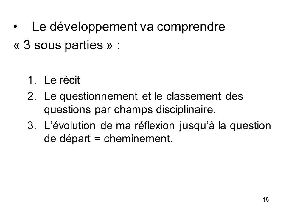 Le développement va comprendre « 3 sous parties » :
